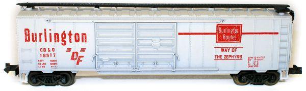 N Scale - Aurora Postage Stamp - 4868-270 - Boxcar, 50 Foot, Steel, Double Door - Burlington Route - 18517