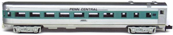 N Scale - Aurora Postage Stamp - 4893-225 - Passenger Car, Lightweight, Budd - Penn Central - 4993