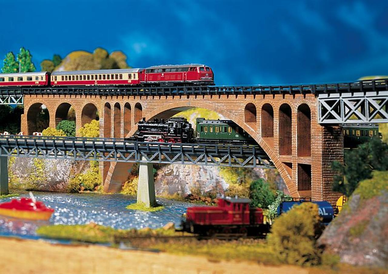 N Scale - Faller - 282924 - Single Track Stone Arch Bridge - Railroad Structures - Stone Arch Bridge