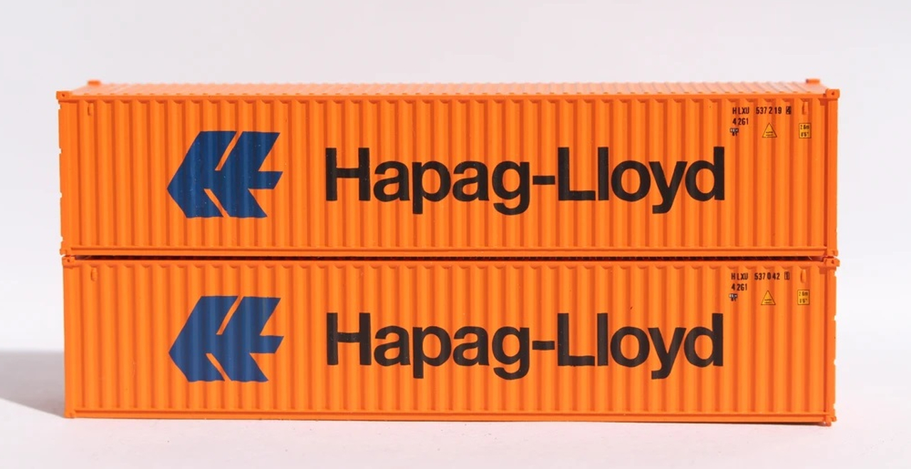 N Scale - Jacksonville Terminal - 405314 - Container, 40 Foot, Corrugated, Dry - Hapag-Lloyd - 2-Pack
