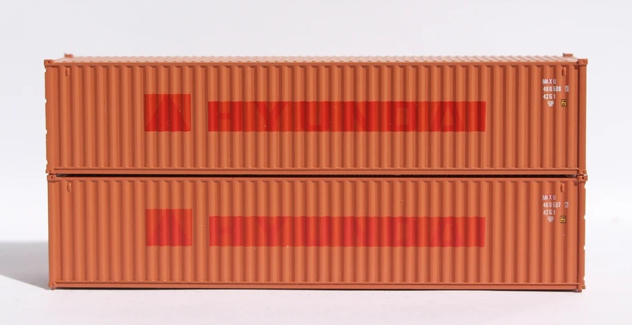 N Scale - Jacksonville Terminal - 405319 - Container, 40 Foot, Corrugated, Dry - Textainer - 2-Pack