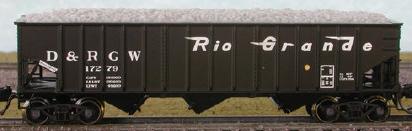 N Scale - Bluford Shops - 14292 - Open Hopper, 3-Bay, 70 Ton Ribside - Rio Grande - 2-Pack