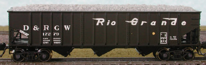 N Scale - Bluford Shops - 14293 - Open Hopper, 3-Bay, 70 Ton Ribside - Rio Grande - 3-Pack