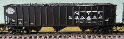 N Scale - Bluford Shops - 14512 - Open Hopper, 3-Bay, 70 Ton Ribside - New York Central - 2-Pack
