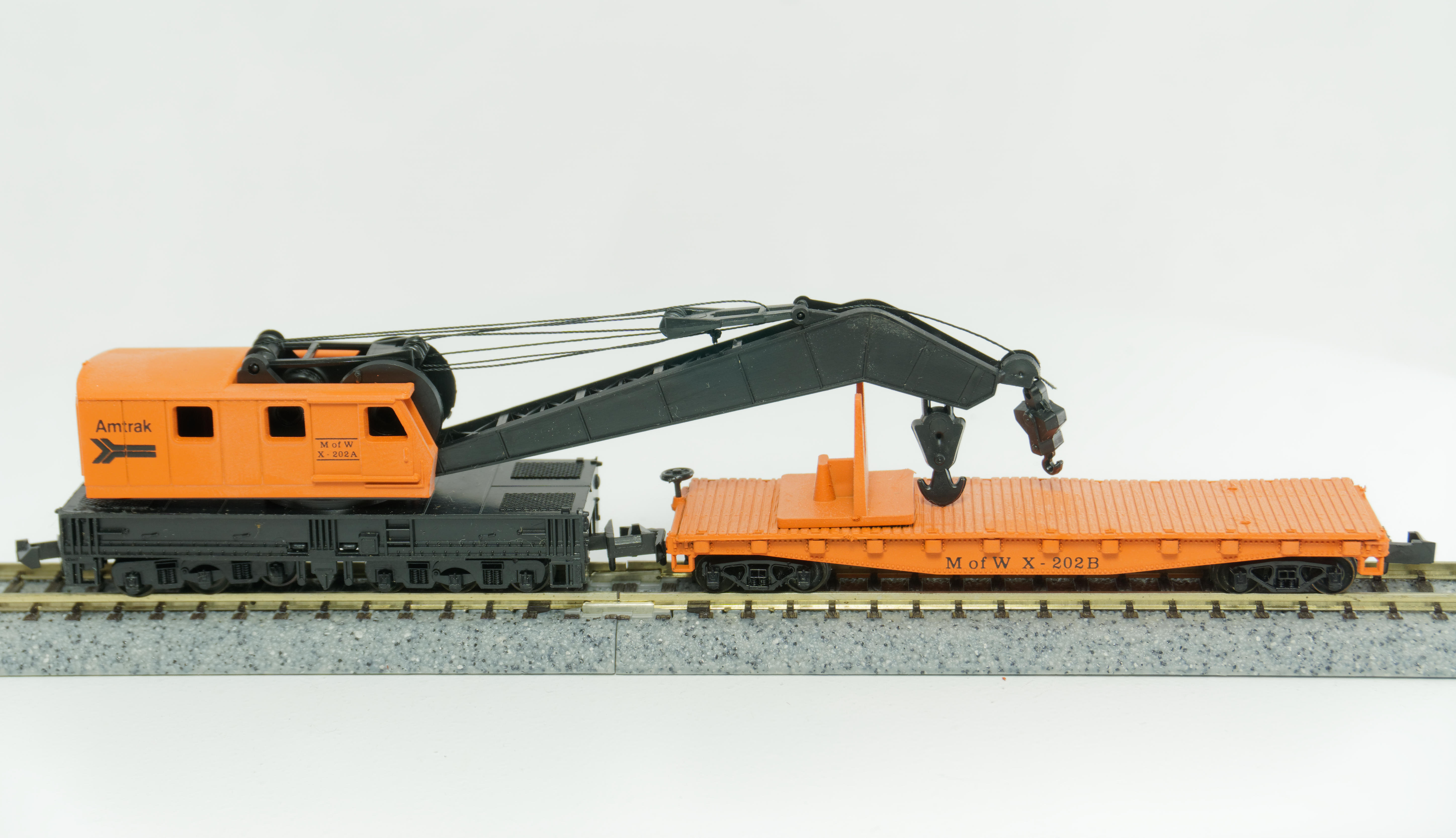 N Scale - Con-Cor - 0001-6020XX - Maintenance of Way, Wrecking Crane, North America - Amtrak - X-202A & B