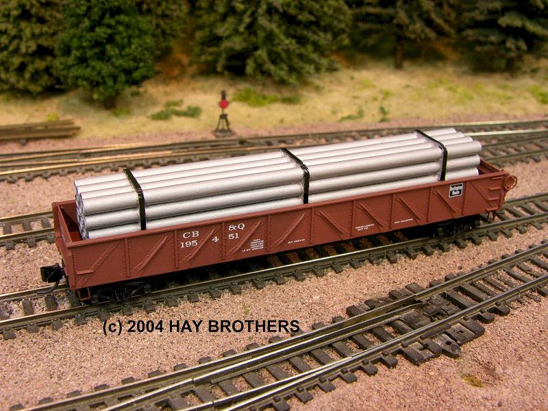N Scale - Hay Bros - 2001-07A - Load - Painted/Unlettered - BANDED PIPE LOAD