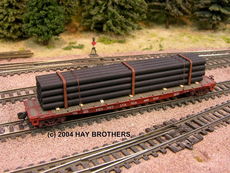 N Scale - Hay Bros - 2001-07C - Load - Painted/Unlettered - BANDED BLACK  PIPE LOAD