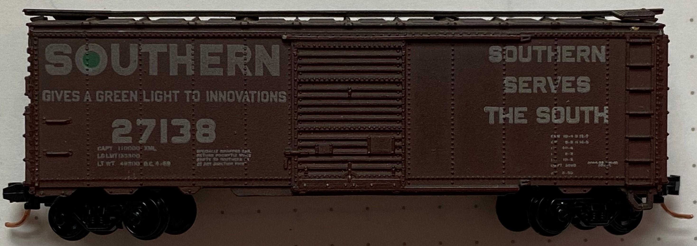 N Scale - Con-Cor - 1001-U-A - Boxcar, 40 Foot, AAR 1944 - Southern - 27138