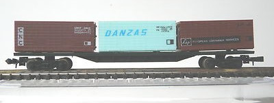 N Scale - Lima - 485 - Flatcar, 20M, Container Sgns - DHL