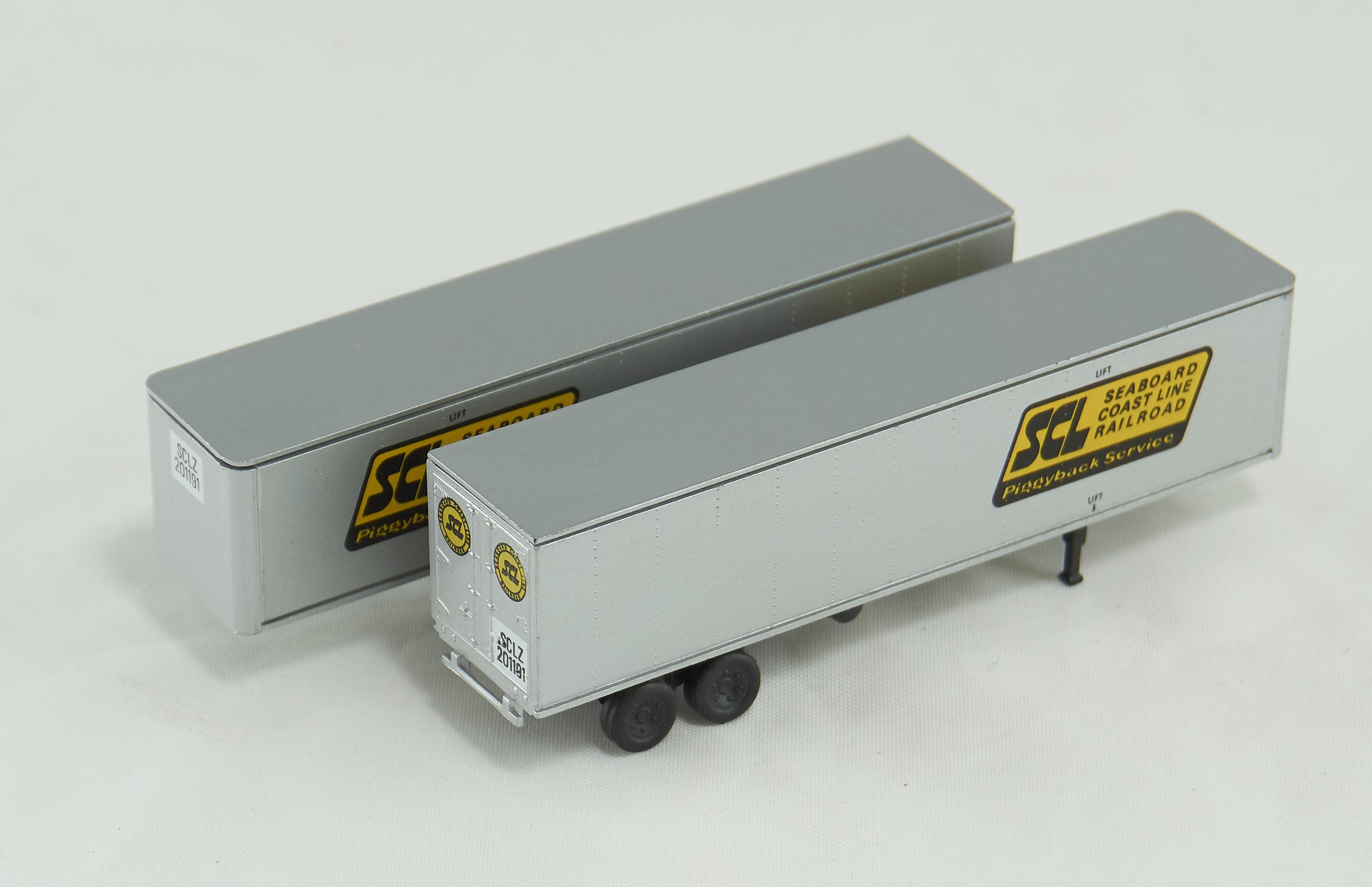 N Scale - Con-Cor - 1591X - Trailer, 40 Foot, Box - Seaboard Coast Line - 2-Pack