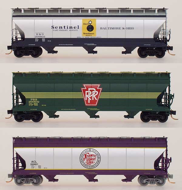 N Scale - InterMountain - NSC INT  999-Set 4 - Covered Hopper, 3-Bay, ACF 4650 - Baltimore & Ohio - 200603,200602,200601