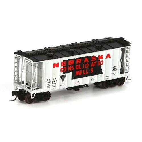 N Scale - Athearn - 23094 - Covered Hopper, 2-Bay, GATX Airslide 2600 - Nebraska Consolidated Mills - 42401