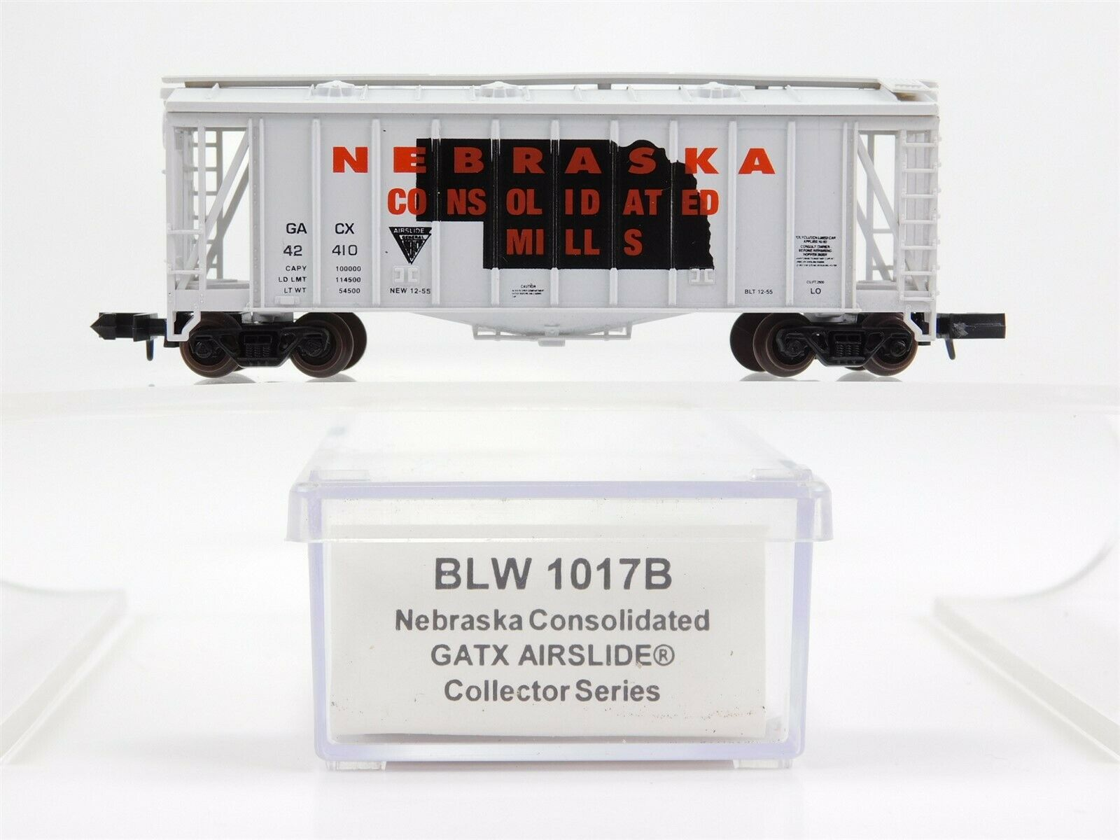 N Scale - Brooklyn Locomotive Works - 1017B - Covered Hopper, 2-Bay, GATX Airslide 2600 - Nebraska Consolidated Mills - 42410