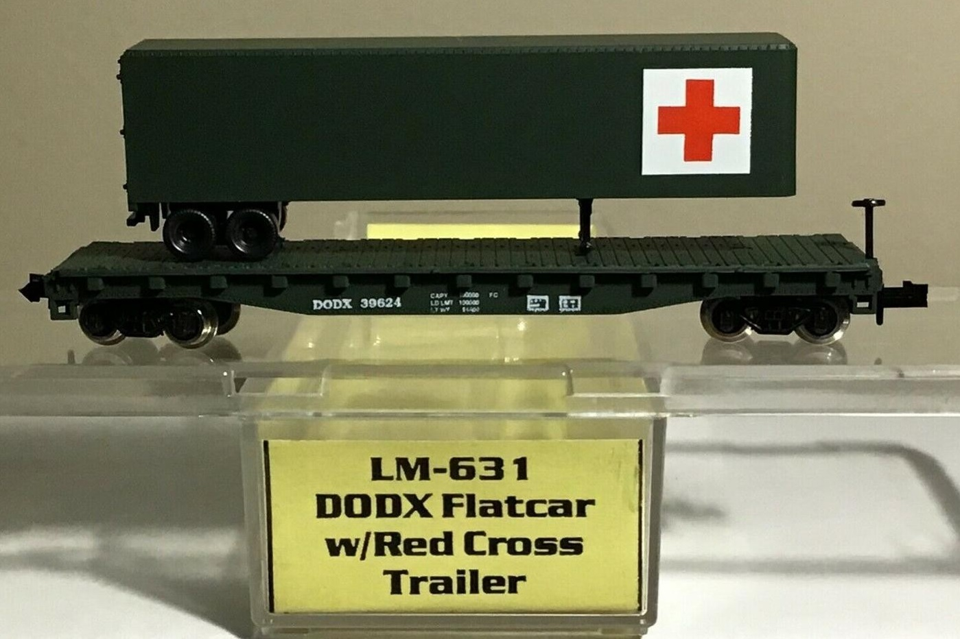 N Scale - Loco-Motives - 631 - Flatcar, 50 Foot - Department of Defense - 39624