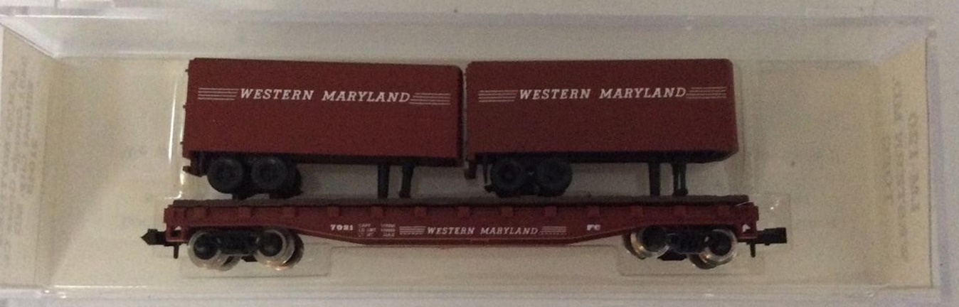 N Scale - Loco-Motives - 120 - Flatcar, 50 Foot - Western Maryland - 7021