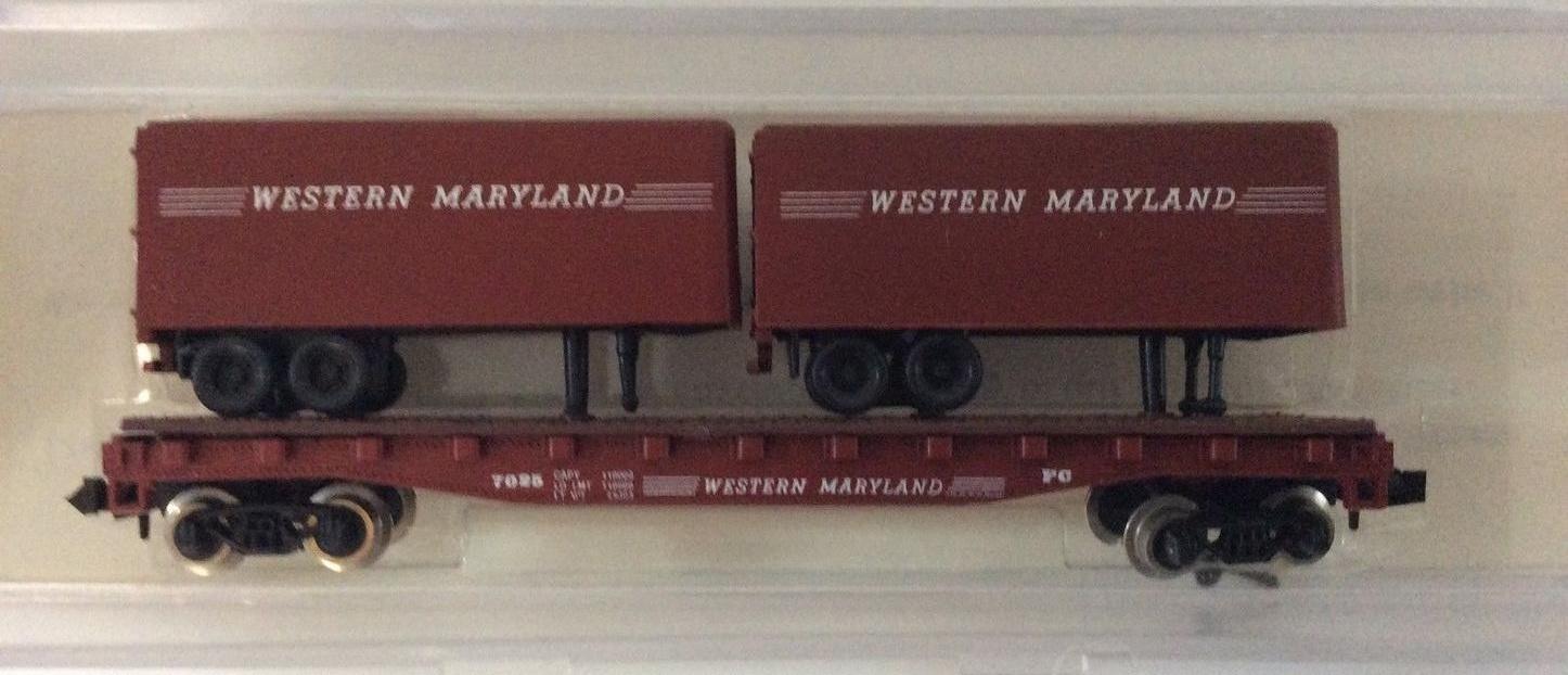 N Scale - Loco-Motives - 120 - Flatcar, 50 Foot - Western Maryland - 7025