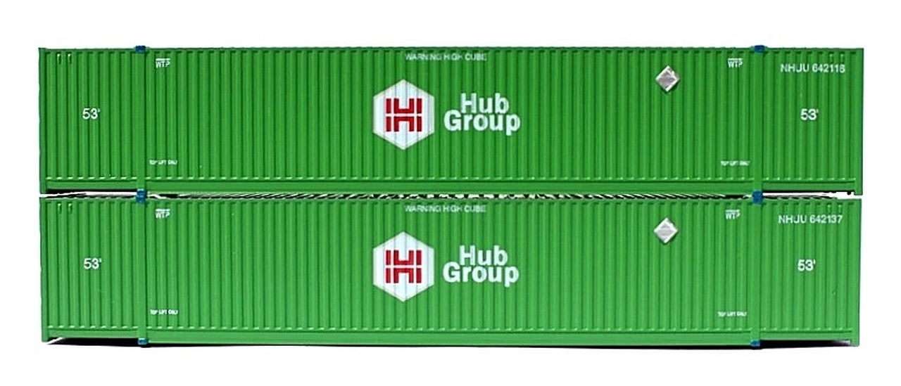 N Scale - Jacksonville Terminal - 537001 - Container, 53 Foot, Corrugated - Hub Group - 2-Pack