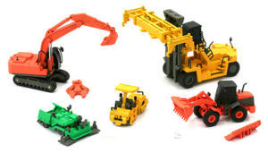 N Scale - Fujimoto Hobby - FH-NK02 - Heavy Construction Equipment - Painted/Unlettered - 10-Piece Set