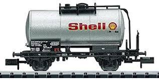 N Scale - Minitrix - 15297 - Tank Car, No Dome, 2-Axle - Shell Oil