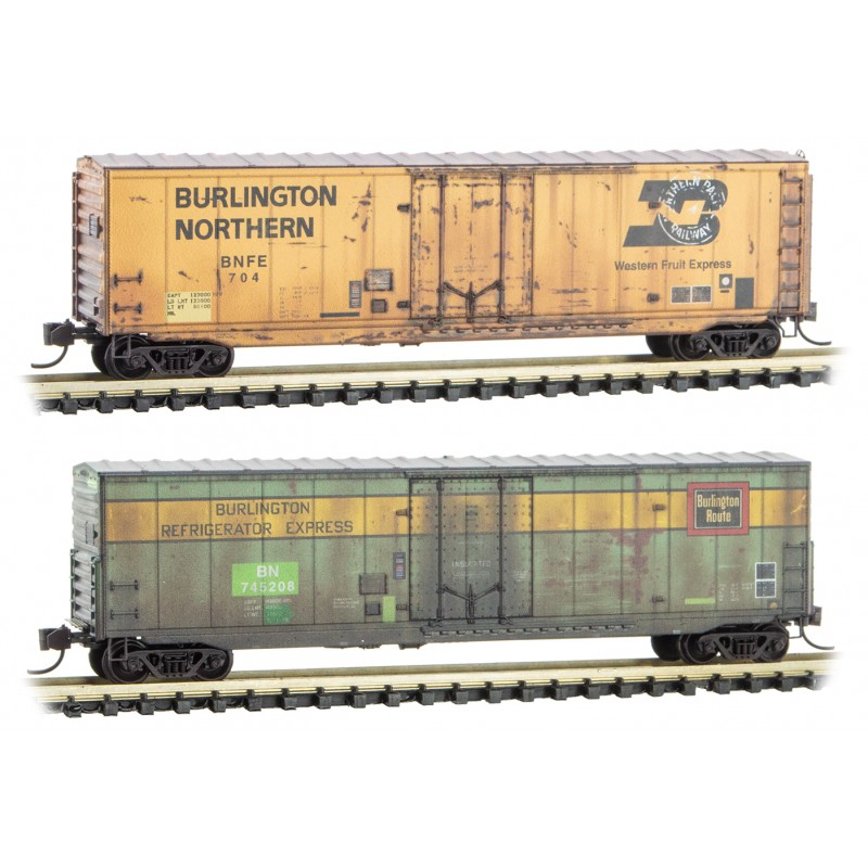 N Scale - Micro-Trains - 993 05 700 - Boxed Set, Weathered 2 Pack - Burlington Northern - 2-Pack