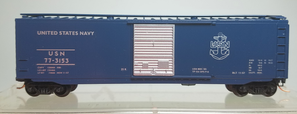 N Scale - The Freight Yard - 25620A - Boxcar, 50 Foot, PS-1 - United States Navy - 77-3153