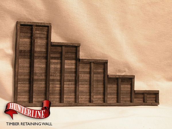 N Scale - Hunterline - HTLWALL - Structure, Wooden Retaining Wall - Railroad Structures - Timber Retaining Wall