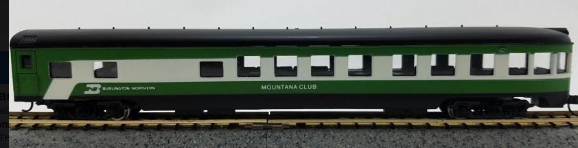 N Scale - Con-Cor - 0001-040178 - Passenger Car, Lightweight, ACF Observation Lounge - Burlington Northern - Mountana Club