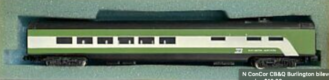 N Scale - Con-Cor - 4071H - Passenger Car, Lightweight, Smoothside - Burlington Northern