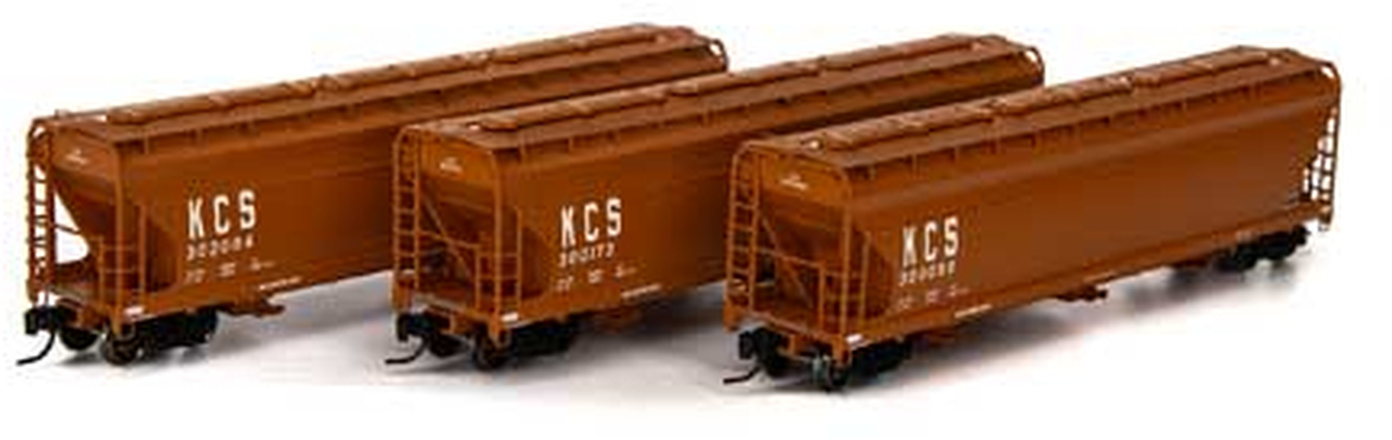 N Scale - Athearn - 6949 - Covered Hopper, 3-Bay, ACF 4600 - Kansas City Southern - 3-Pack