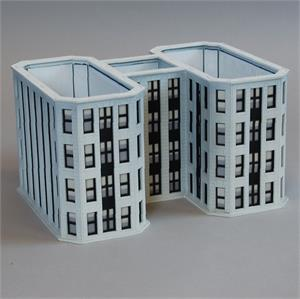 N Scale - Custom Model Railroads - 092 - Railroad Headquarters - Commercial Structures - Railroad HQ Four-Story Add-On