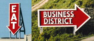 N Scale - Blair Line - 1532 - Signs - Commercial Structures - Eat & Business District