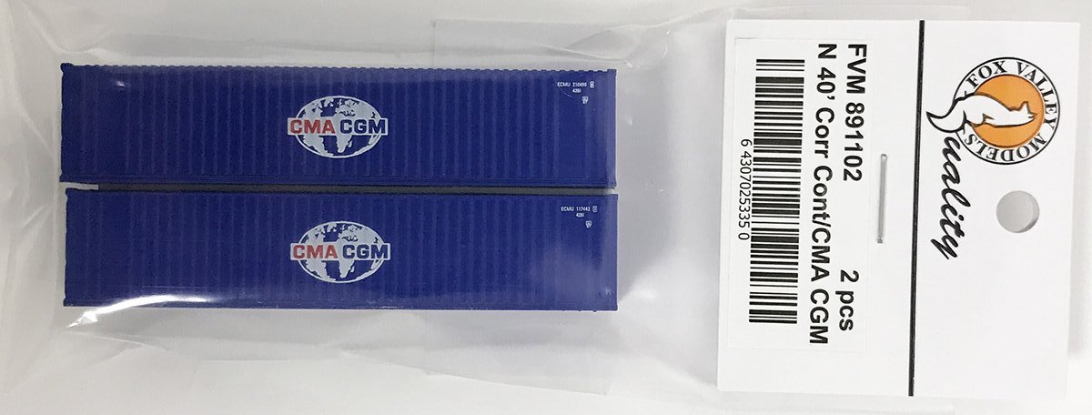 N Scale - Fox Valley - 891102 - Container, 40 Foot, Corrugated, Dry - CMA CGM - 2-Pack