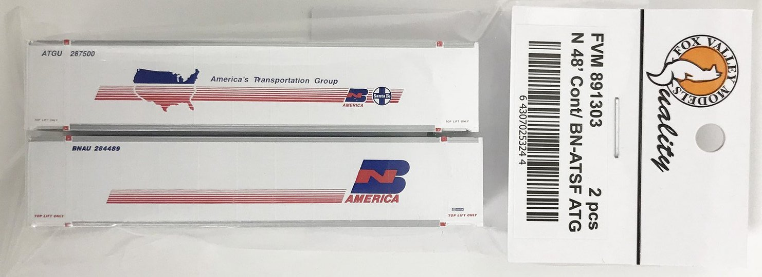 N Scale - Fox Valley - 891303 - Container, 48 Foot - Burlington Northern Santa Fe - 2-Pack