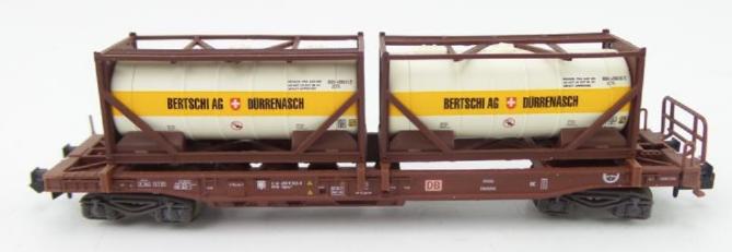N Scale - Minitrix - 15257-04 - Flatcar, 50 Foot, Container - Deutsche Bundesbahn