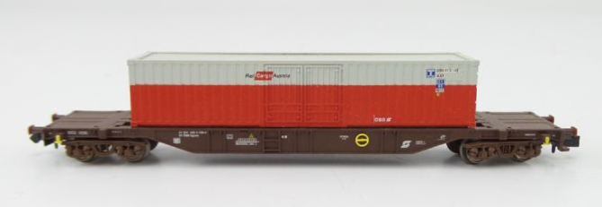 N Scale - Minitrix - 15645-01 - Flatcar, 20M, Container Sgns - ÖBB (Austrian Federal Railways) - 31 81 455 2 158-5