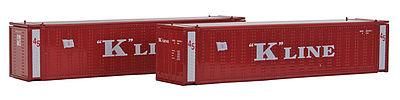 N Scale - Con-Cor - 0004-444010 - Container, Intermodal, 45 Foot, Corrugated - K Line - 2-Pack
