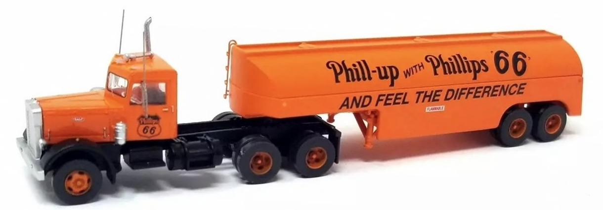 N Scale - Trainworx - 55122 - Truck, Peterbilt 281/351 - Phillips 66