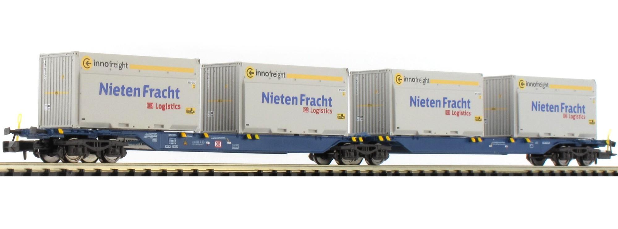 N Scale - Hobbytrain - H23718-9 - Flatcar, Sgkkms - Deutsche Bahn - 2-Pack