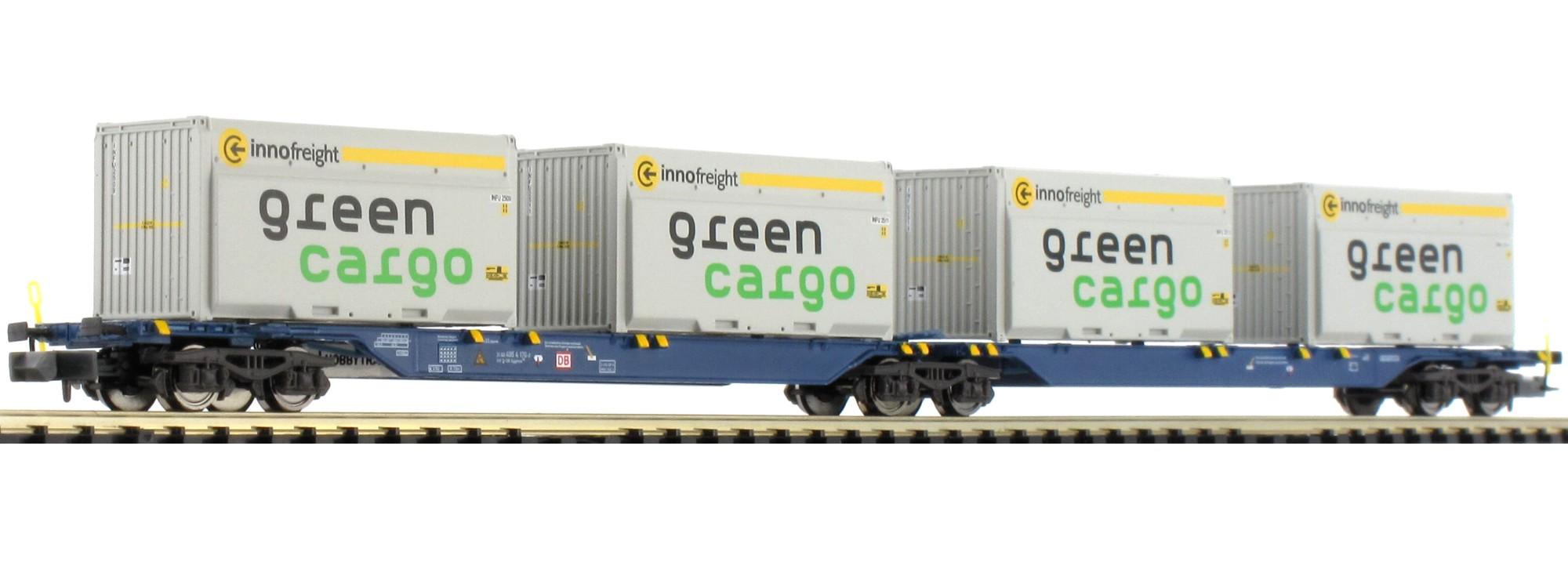 N Scale - Hobbytrain - H23718-1 - Flatcar, Sgkkms - Deutsche Bahn - 2-Pack