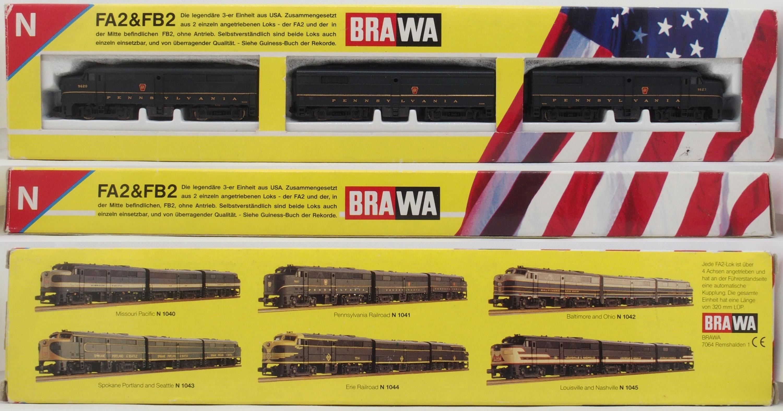 N Scale - Brawa - 1041 - Locomotive, Diesel, Alco FA/FB - Pennsylvania - 9620, 9620B, 9623