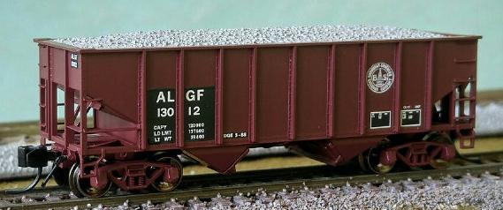 N Scale - Bluford Shops - BLU-SRM-01 - Open Hopper, 2-Bay, Rib Side, 8-Panel - Alabama & Gulf Coast - 2-Pack