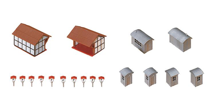 N Scale - Faller - 222178 - Shanties, Sheds, Huts - Railroad Structures