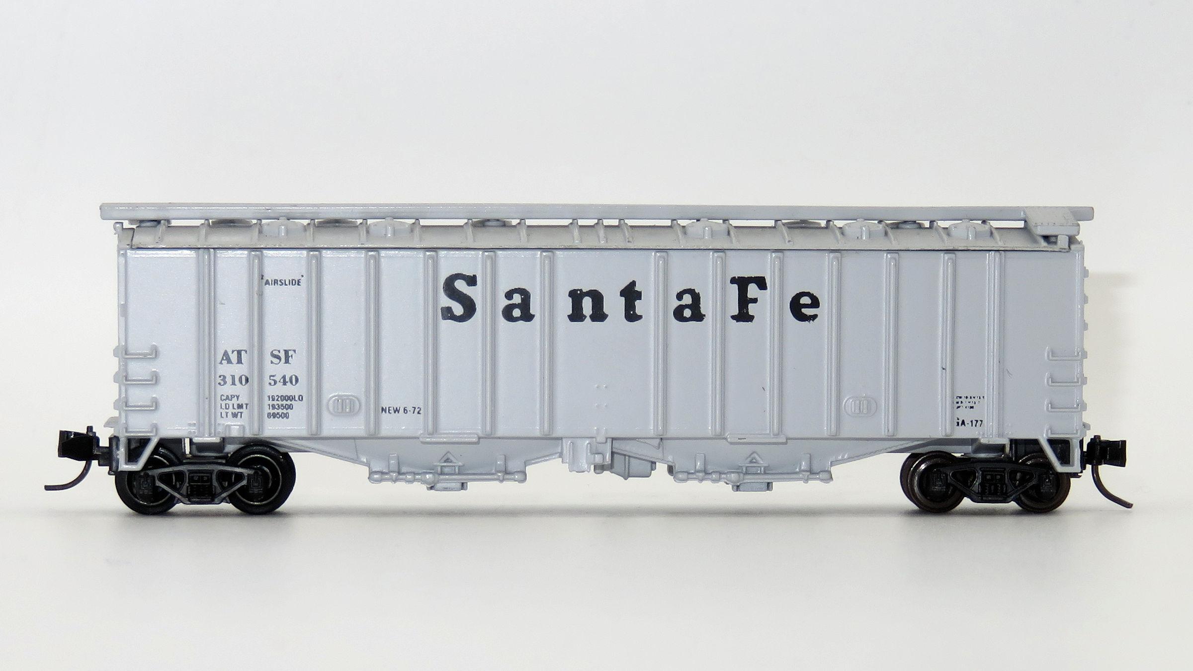 N Scale - Delaware Valley - A140 - Covered Hopper, 2-Bay, GATX Airslide 4180 - Santa Fe - 310540