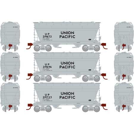 N Scale - Athearn - 23459 - Covered Hopper, 2-Bay, ACF Centerflow - Union Pacific - 3-Pack
