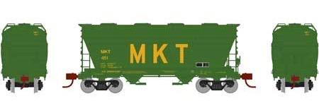 N Scale - Athearn - 23451 - Covered Hopper, 2-Bay, ACF Centerflow - Missouri-Kansas-Texas - 451