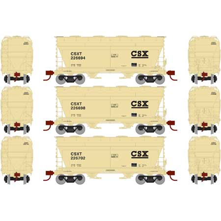 N Scale - Athearn - 23447 - Covered Hopper, 2-Bay, ACF Centerflow - CSX Transportation - 3-Pack