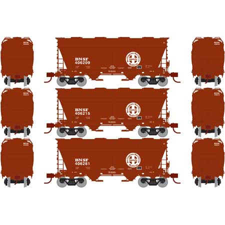 N Scale - Athearn - 23444 - Covered Hopper, 2-Bay, ACF Centerflow - Burlington Northern Santa Fe - 3-Pack