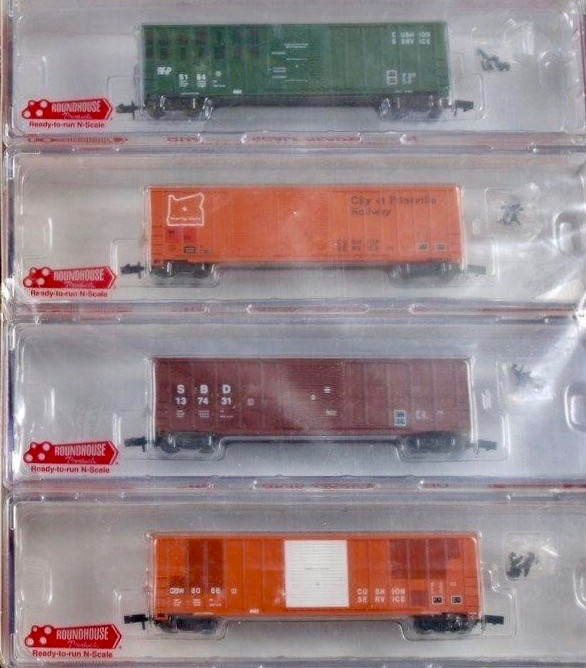 N Scale - Roundhouse - 89426 - Boxcar, 50 Foot, FMC, 5347 - Various - 4-Pack