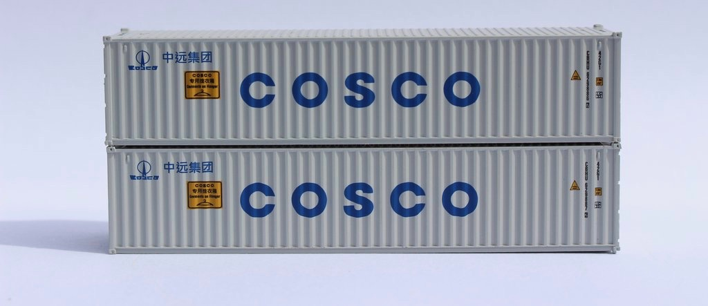 N Scale - Jacksonville Terminal - 405312 - Container, 40 Foot, Corrugated, Dry - COSCO Logisitics - 2-Pack
