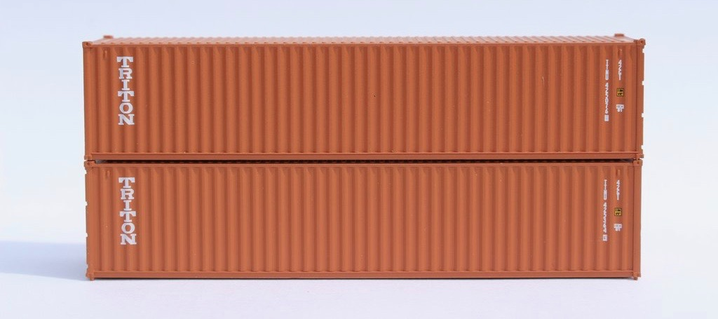 N Scale - Jacksonville Terminal - 405317 - Container, 40 Foot, Corrugated, Dry - Triton - 2-Pack